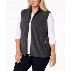0X 1X 3X Charcoal Gray Fleece Vest Plus Size